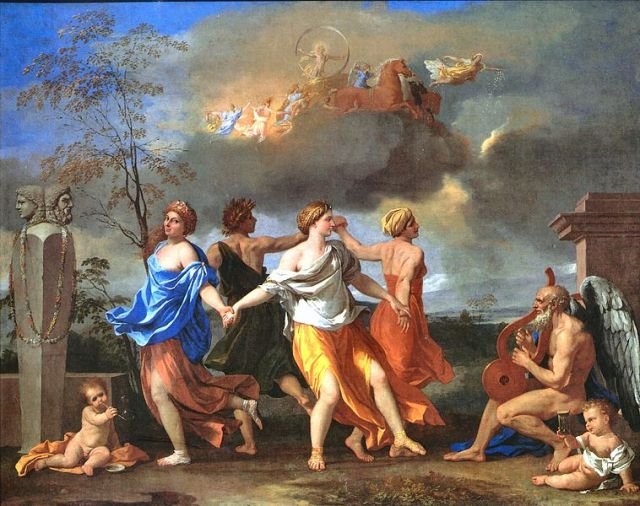 A Dance to the Music of Time Nicolas Poussin, 1634-1636 oil on canvas, 33 x 42 in The Wallace Collection, London photo in public domain from Wikimedia Commons