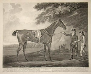 Hambletonian aquatint, 15.5 x 19.25 inches Published by John Harris, London, 1799 Engraver, John Whessel (1760 - c.1797) After painting by John Nost Sartorius (1759-828) Courtesy of www.georgeglazer.com, George Glazer Gallery, New York City.""