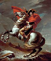 Napleon Crossing the Alps Jacques Louis David (1800) Kunsthistorisches Museum, Vienna photo from Wikimedia Commons
