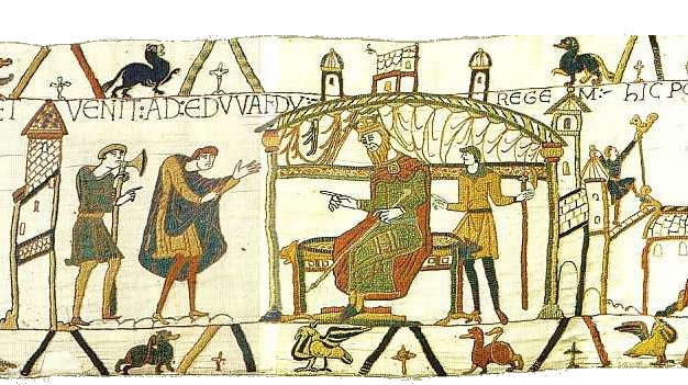 "Bayeux Tapestry scene 25 ""And he came to King Harold"" Wikimedia Commons"