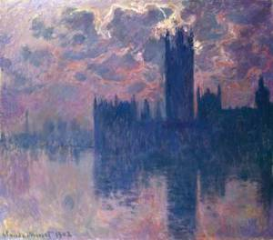 House of Parliament, Sunset Claude Monet 1902 public domain from Wikimedia Commons