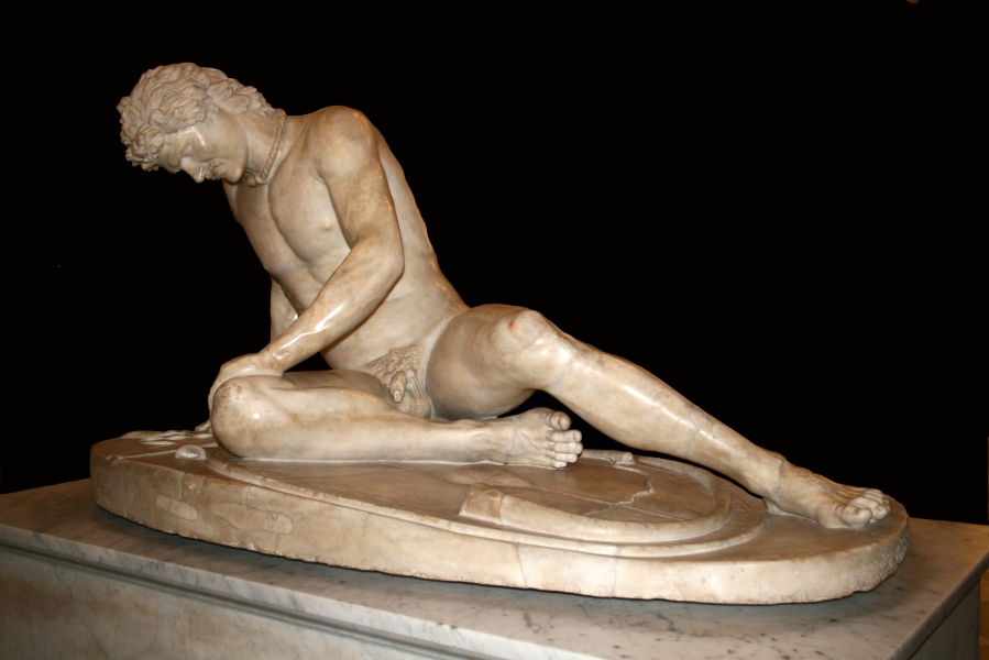 The Dying Gladiator Marble, copy of one of the statues Attalus I gave to Athens (3rd century BC). Capitoline Museum photo by Jean-Pol GRANDMONT from Wikimedia Commons