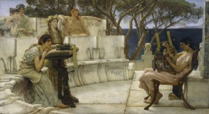 Sappho and Alcaeus Sir Lawrence Alma-Tadema, R.A. oil on panel, 1881 H: 26 x W: 48 1/16 in.; Framed H: 41 x W: 61 in
