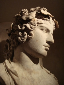 Lansdowne Antinous. Marble, Roman Imperial artwork, ca. 130-140 AD.  Found at Hadrian's Villa, 1769 The crown, nostrils, lips and torso have been restored. Fitzwilliam Museum, Cambridge,  photo public domain from Wikipedia Commons