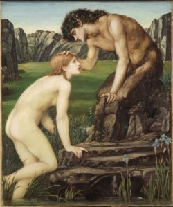 Pan and Psyche Edward Burne-Jones, 1872-1874 Oil on canvas  sight: 25 5/8 x 21 in. framed: 38 5/8 x 34 x 2 3/4 in. Harvard Art Museums/Fogg Museum, Bequest of Grenville L. Winthrop, 1943.187