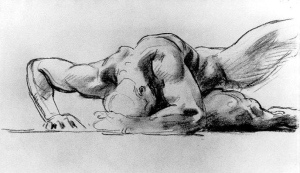 Study of a Figure for Hell John Singer Sargeant, c. 1900 Charcoal and stump on beige-laid paper, 18 7/8 x 24 1/2 in.,  Corcoran Gallery of Art, Washington, D.C. public domain from Wikimedia Commons