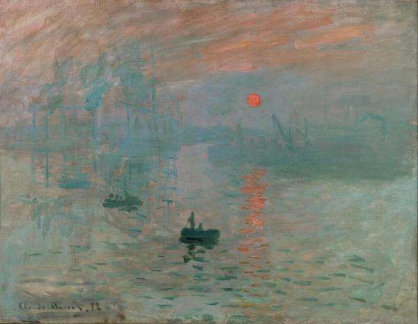 Impression, Sunrise Claude Monet, 1872 Musee Marmotan Monet public domain photo from Wikimedia Commns