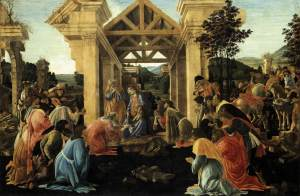 Adoriation of the Magi Sandro Botticelli ca. 1478-1482 tempera and oil on panel  framed 39 X 52 inches The Andrew W. Mellon Collection The National Gallery of Art photo public domain from Wikimedia Commons