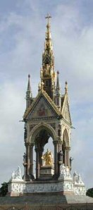 The Albert Memorial Architect: Sir George Gilbert Scott  Designed: 1872  Completed: 1876 (unveiled by Queen Victoria)  Height: 180 Feet  photo from the Victorian Web