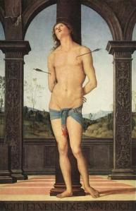 St. Sebastian Pietro Perugino oil on wood, 170 x 117 cm,  after 1490 The Louvre photo public domain from Artmight.com