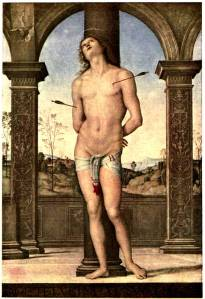 St. Sebastion Pietro Perugino,  The Louvre Plate 2 from Brinton, Perugino, project Gutenberg ebook