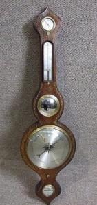 Victorian Banjo Barometer, ca, 1860 mahogany veneer