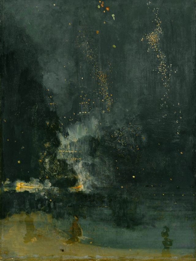 Nocturne in Black and Gold: The Falling Rocket James McNeill Whistler, 1875 oil on panel The Detroit Institute of Art photo in public domain from Wikimedia Commons