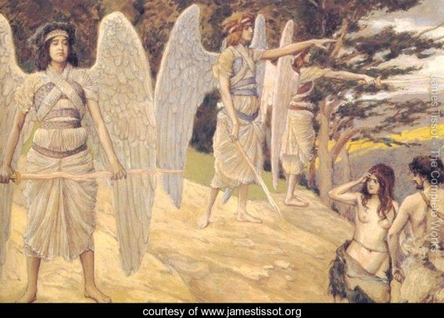 Adam and Eve Driven from Paradise James Tissot www.jamestissot.org
