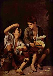 Beggar Boys Eating Grapes and Melon Bartolome Esteban Murillo ~1650 oil on canvas Alte Pinakothek, Munich photo in public domain from Wikimedia Commons