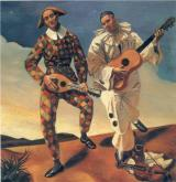 Harlequin and Pierrot Andre Derain 1924 Musee de L'Orangerie, Paris photo from Wikipaintings by fair use work copyrighted in France