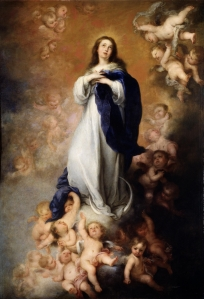The Immaculate Conception of the Venerable Ones Bartolome Esteban Murillo  ~1678 oil on canvas Museo del Prado photo in public domain from Wikimedia Commons