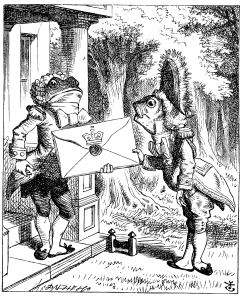 The Frog Footman and the Fish Footman Illustration by Sir John Tenniel ~1865 from Lewis Carrol Alice's Adventures in Wonderland public domain from Wikimedia Commons