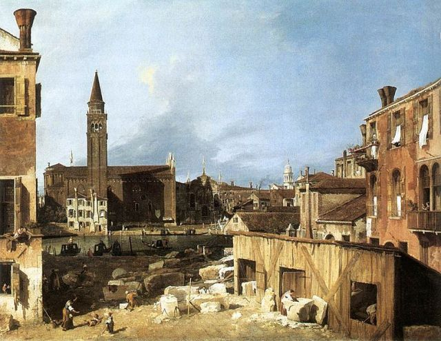 "The Stonemason's Yard Giovanni Antonio Canaletto 1726-30 oil on canvas 49"" x 64"" National Gallery, London public domain from Wikimedia Commons"