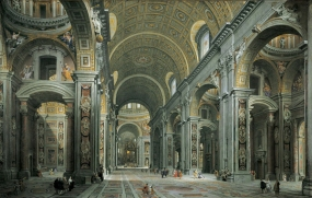 "The Interior of St. Peter's, Rome Giovanni Paolo Panini, 1731 oil on canvas 57"" X 90"" St. Louis Museum of Art photo in public domain from Wikimedia Commns"