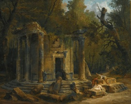 "Temple of Philosophy at Ermenonville Hubert Robert oil on canvas 37"" x 46"" offered for auction by Southby's, 2013 photo public domain from Wikimedia Commns"