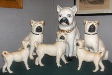 Stafforshire Figures Pugs became popular figures after Queen Victoria received a live pug as a gift.