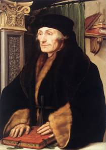 Erasmus Hans Holbein the Younger, 1523 The National Gallery On loan from Longford Castle collection,  photo public domain from Wikipedia Commons