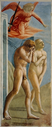 Expulsion of Adam and Eve from the Garden of Eden Masaccio ~1425 fresco from the walls walls of the Brancacci Chapel in the church of Santa Maria del Carmine in Florence,  photo public domain from Wikimedia Commons