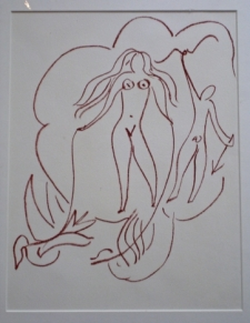 Adam and Eve, Florilege des Amours de Ronsard Henri Matisse, 1948 16 by 13 inches Original lithograph in sanguine on Arches paper. Inspired by the love poetry of Ronsard; Printed at L'Atelier Mourlot; Published by Alberta Skira in an edition of 320