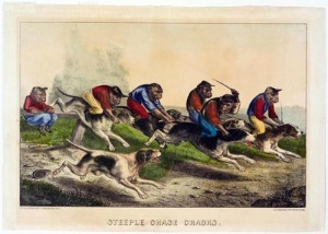 Steeplechase Cracks Currier and Ives Hand colored lithograph 14 X 9.75 inches photo from website of the Springfield Museum