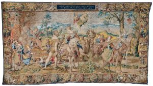 The Triumph of Lust  From a seven-piece Seven Deadly Sins Design by Pieter Coecke van Aelst, ca. 1532–33 Woven in Brussels, ca. 1542–44 Wool, silk, and gilt metal-wrapped thread; 15 ft. 3/4 in. x 27 ft. 3 1/2 in. (459 x 832 cm) Mark of Brussels (bottom left selvage) and an unidentified weaver's mark (bottom right selvage) Patrimonio Nacional, Palacio Real de Madrid
