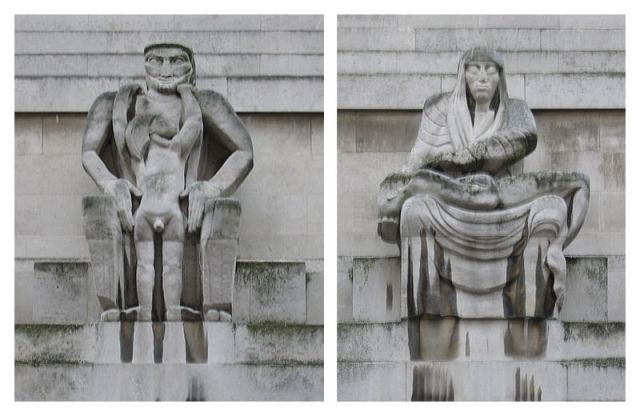 Day and Night Jacob Epsteim 1928 Portland Stone, carved for London Underground's Headquarters at 55Broadway, London. photos  by Andrew Dunn  from Wikimedia Commons