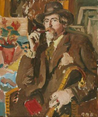 Augustus John by Adrian Maurice Daintrey oil on canvas 31 by 26 inches Manchester Art Gallery from BBC Your Paintings (c) Mr Vernon C. Wallis (great-nephew); Supplied by The Public Catalogue Foundation