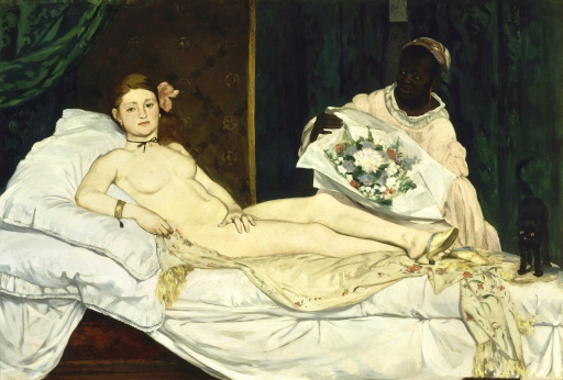 Olympia Edouard Manet, 1863 oil on canvas, 51 x 75 in. Musee Orsay photo from Google Art Project via Wikipedia