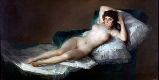 Maya Desnuda Francisco Goya, ~1795-1800 oil on canvas, 39x72 in. Prado Museum photo from Wikimedia.org