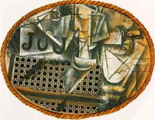 Still Life with Chair Caning Pablo Picasso, 1912 collage on canvas Musee Picasson, Paris copyright Succession Picasso,