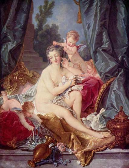 The Toilet of Venus François Boucher, 1751 oil on canvas, 43 X 34 in Metropolitan Museum of Art photo public domain from Wikimedia Commons