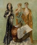 Les trois grâces de la mode Pedro Pruna, 1934 oil on canvas 64X 51 in sold at Christie's for $26,000 in 2009 copyright status unknown