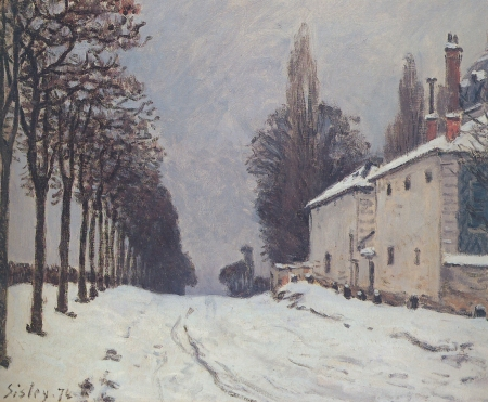 Snow on the Road, Louveciennes (Chemin de la Machine) Sisley, 1874 15 X 22 inches private collection photo public domain from Wikipedia