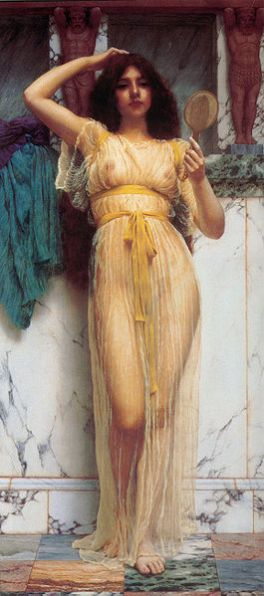 The Mirror John William Godward, 1899 oil on canvas 32 X 15 inches private collection photo public domain from Wikimedia Commons via the Art Renewal Center Museum