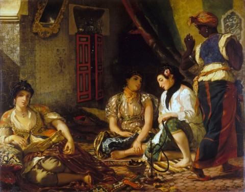 Femmes d'Algers dans leur apartement Eugene Delacroix, 1834 color on canvas, 71 X 90 in Louvre Museum photo public domain via Wikimedia Commons