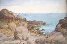 Costal Scene George Dunkerton Hiscox (1840-1909) watercolor asking bid on eBay $21 March 1, 2014