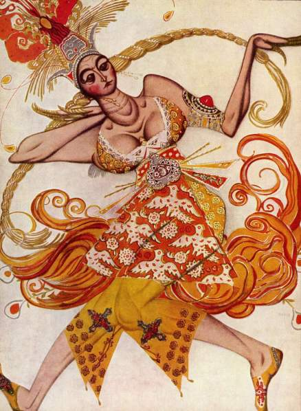 Ballet Costume for Firebird Suite Leon Bakst watercolor on paper, 10 X 7 inches The Yorck Project: 10.000 Meisterwerke der Malerei. DVD-ROM, 2002. ISBN 3936122202. Distributed by DIRECTMEDIA Publishing GmbH public domain via Wikimedia Commons