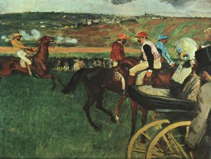 At the Races Edgar Degas, ~1877-1880 oil on canvas, 26 x 32 in Musee d'Orsay, Paris photo in public domain from Wikimedia Commns