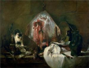 The Ray or The Kitchen Interior Jean-Baptiste-Simeon Chardin, 1728 58 x 45 in Musée du Louvre,, Paris photo public domain from Wikipaintings.org