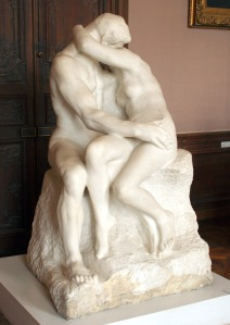 Le Baiser Auguste Rodin, 1889 marble 72 x 44 x 46 in Rodin Museum, Paris photo in public domain from Wikimedia Commons
