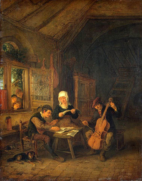 Rural Musicians Adrien van Ostade, ~1655 oil on panel, 15 X 12 in Hermitage Museum images in public domain from Wikimedia Commons