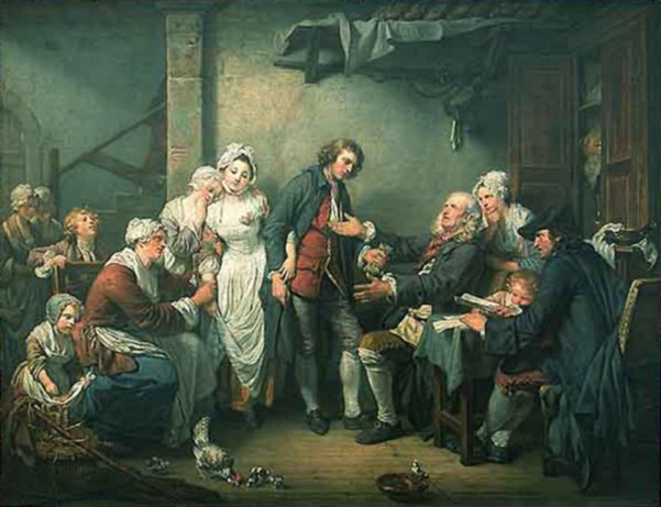 L'accordée de village Jean-Baptise Greuze, 1761 oil on canvas, 36 X 42 in Musee de Louvre image  in public domain from Wikimedia Commons