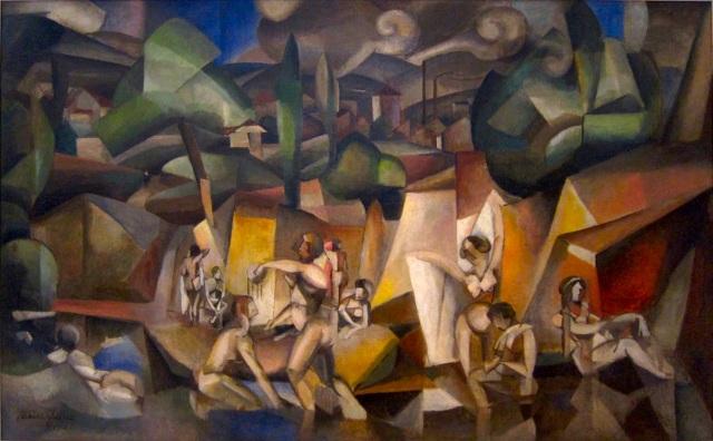 Les Baigneuses Albert Gleizes, 1912 oil on canvas, 42 x 68 in Musée d'Art Moderne de la Ville de Paris. photo public domain in US from Wikipedia