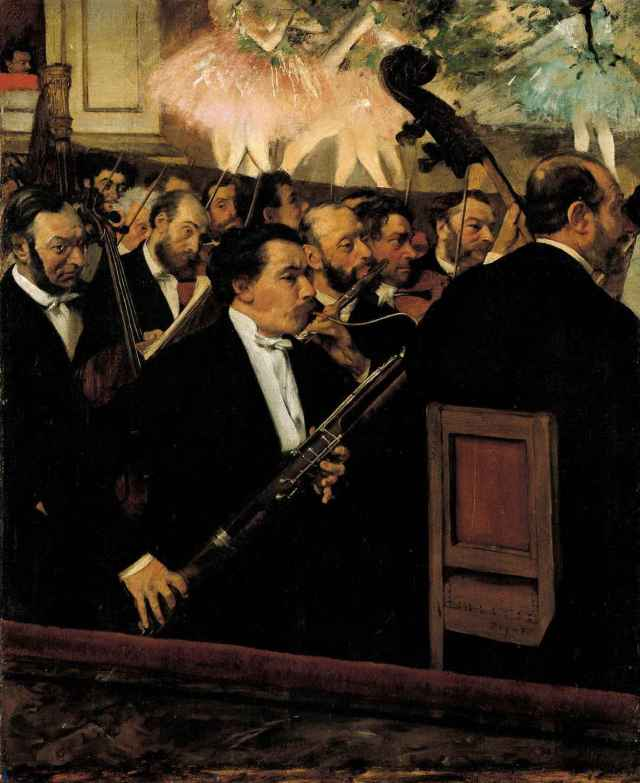 The Orchestra at the Opera Edgar Degas Circa 1870 Oil on canvas 26 x 18 in  Paris, Musée d'Orsay photo in public domain from Wikimedia. org